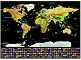Scratch off World Map 32.5 x 23.6 Inches Travel Tracker Poster (Black/Golden) by StillCool