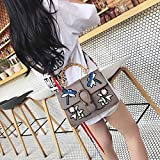 Bolso femenino de YTTY bolso de bambú bordado del bolso de Kelly, gris claro