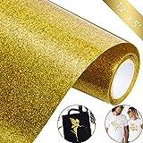12 Zoll von 5 Fuß Glitzer Wärme Transfer Vinyl Rolle Eisen auf Vinyl für DIY T-Shirts, Kissen und Andere Textilien, Leicht zu Schneiden, Unkraut und Übertragen (Gold)