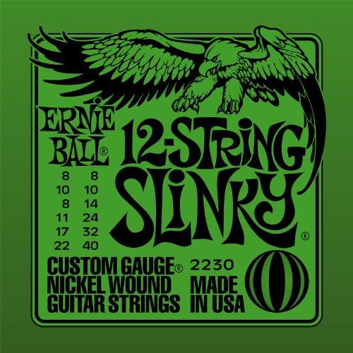 Ernie Ball Slinky - Cuerdas para guitarra eléctrica de 12 cuerdas, níquel - 8-40 Gauge