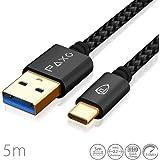 5m Nylon USB 3.0 Typ C Kabel schwarz, USB auf USB Typ C Ladekabel, Datenkabel, Goldstecker, geflochtenes Kabel (Braided)