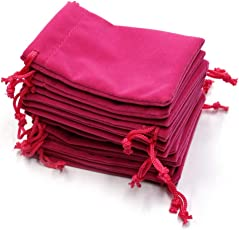 SYGA Set of 10 Velvet Cloth Jewelry Pouches/Drawstring Bags for Jewelry Gift (Pink)