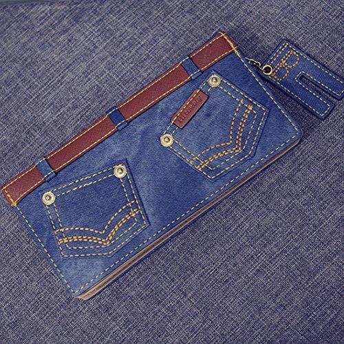 Portafogli Woolala Portafogli Grande Portafoglio Arretrato Portafogli Organizzatore Borsa Lunga Con Pendente Jeans Carino, Blu Coffee