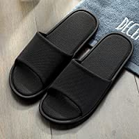 fankou Delgado y Ligero de Verano Parejas Cool Zapatillas Mujer Interiores Baño de plástico Antideslizante Shoes Home Zapatos de Baño,43-44, Negro
