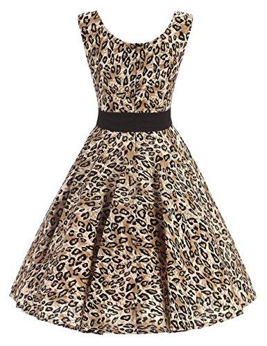 VKStar® Retro Kleider Damen 50er 60er Vintage Kleider sommer ärmellos Rockabilly Abendkleid Leopard