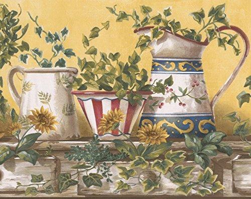ase weiß rot blau Wasserkocher auf Vintage Küche Tisch gelbe Tapete Grenze Retro-Design, Roll 15' x 9