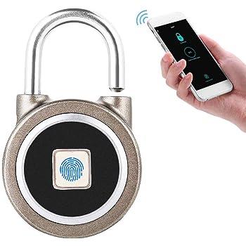 d079e3896377 Smart Padlock,Fingerprint Padlock,Bluetooth Connection Metal IP65  Waterproof Suitable for House Door, Backpack, Suitcase, Bike etc
