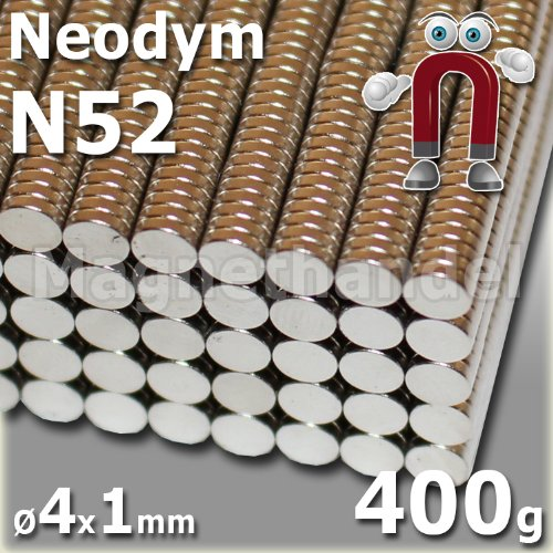 100 Neodym Magnete Ø4x1 mm NdFeB N52 NiCuNi vernickelt - Haftkraft ca. 400 g -