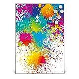 BANJADO Design Magnettafel Edelstahl | Schreibtafel magnetisch 35cm x 50cm | Memoboard mit 6 Magneten | Magnetwand mit Motiv Farbspritzer