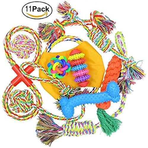 regalos tus mascotas mas kawaii Algodón de punto perro cuerda juguetes Set, regalo de limpieza de dientes Masticar bolas Variety Pack para pequeño mediano mascota cachorro jugando
