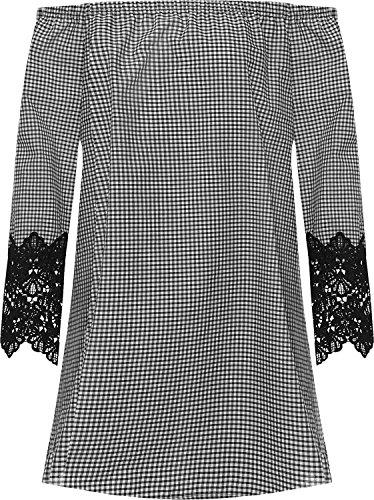 Top Fashion Damen Übergröße Gingham Check Aus Schulter Gypsy Boho Top Frauen-Spitze-Hülse Bardot EU Size 42-54 (Gingham Top Lace)