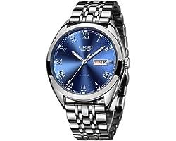 LIGE Men's Watch Waterproof Stainless Steel Analog Quartz Watch Male Business Dress Calendar Gents Watch Elegant……