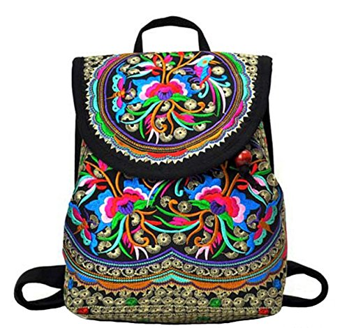 Nicetage Womens Embroidery Backpack Vintage Bags Girls Shoulder Bags Canvas  Satchel Ethnic Style Rucksack 9cd0218ce1bb3