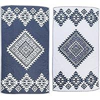 [Patrocinado]Bersuse 100% Algodón - Yucatan Toalla Turca - De doble capa - Fouta Peshtemal para Baño en la Playa - Pestemal de Diseño Azteca Mano - 100X180 cm, Azul Oscuro