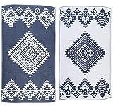 Bersuse 100% Cotone - Asciugamano Turco Yucatan - Doppio strato - Peshtemal Fouta per Bagno e Spiaggia - Pestemal tessuto a mano con Design Mandala - 100X180 cm, (Blu Scuro)