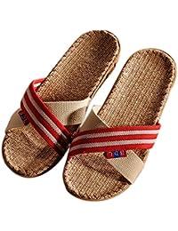 Zapatillas de estar Por Casa de Mujer de Lino Natural con Cinta Cruz Chanclas Mujer Verano Primavera Otoño EN Dormitorio Spa Gimnasio Playa Vacaciones