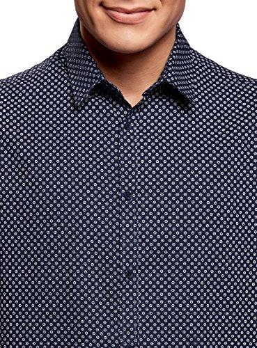 oodji Ultra Herren Tailliertes Hemd mit Feinem Muster Blau (7910G)
