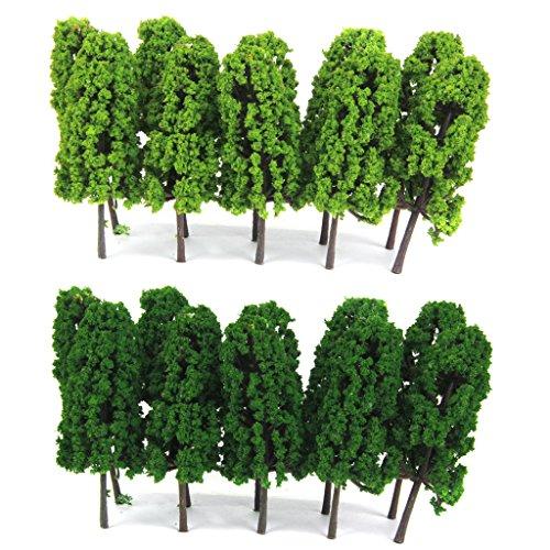 Lot de 20pcs Echelle 1:150 Arbre Miniature pour Modèle Paysage Modélisme Ferroviaire - Vert Clair et Foncé 0645871839665