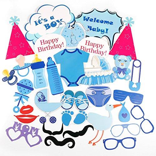 CLE DE TOUS - Pack de 31 piezas Photocall para Bautizo Fiesta Nacimiento Baby Showers Cumpleaño Set Decorativo Cartulinas para fotografías (Azul para niño)