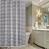 KUSUN Wasserabweisender Stoff-Duschvorhang waschbar Anti-Schimmel 180 x 200cm 100 % Polyester Schwarz Weiß Streifen Pattern D003-200
