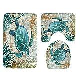 Prevently 3 Stück Toiletten-Abdeckung Set,Schildkröte Oktopus Drucken Toilettenmatte Non-Slip Suction Grip Bath Mat Bathroom Kitchen Carpet Doormats Decor (MulticolorB)