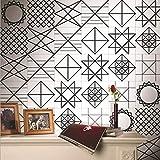 JY ART Fliesenaufkleber für Küche und Bad | Mosaik-Stil Designs Wandfliesen Aufkleber für Fliesen | Fliesen-Aufkleber Folie | Deko-Fliesenfolie Schwarz und weiß Geometrisch, 4, 20cm*5m