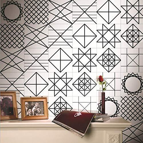 JY ART Stickers Muraux Carreaux en Vintage | adhésif Sticker Feuille pour Carreaux Salle de Bain et crédence Cuisine Noir et Blanc Géométrique, 4, 20cm*5m