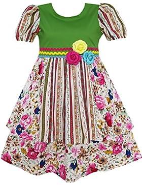 Mädchen Kleid Kurz Ärmel Prinzessin Blume Drucken Grün