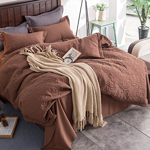Polyester-twin-size-tröster (Prägung Betten Sets Kapuzenanorak mit Baumwollfutter – memorecool Haustierhaus 100% Polyester Heimtextilien Winter Herbst warm bequem Quilt Bezug und Bettlaken Twin ab-design, Polyester, Coffee and Flat, Queen)