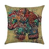 hengjiang Kissen Animal Cartoon Elefant Gemälde 120g Dicke Baumwolle Leinen doppelseitig 45,7x 45,7cm/45x 45cm Überwurf Kissen für Zuhause Sofa Bett Auto Büro Deko 09