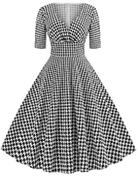 495f54d053 Vestido Estilo Tutú Vintage con Estampado De Pata De Gallo Y Manga Larga De  Granada Al