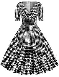 e50f6e11f1ec1 Coloré(TM Robe Femme Ouest Grenade Col en v Manche Pied de Poule Imprimer  Vintage