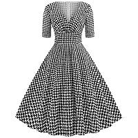 beautyjourney Vestido de cóctel Vintage de los años 50 para Mujer Vestido Escotado Rockabilly Retro de Manga Corta con Cuello en v Falda Plisada Vestidos de tutú de Pata de Gallo