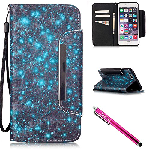 iPhone 6/6S Hülle, Slim Retro PU Leder Bookstyle Hülle Tasche Flip Wallet Case mit Strap Portable Handytasche Anti-Scratch Shell Cash Pouch ID Card Slot Magnetverschluss Etui Soft Silikon für Apple iPhone 6/6S (4.7 Zoll) (Tasche Rock Leder)