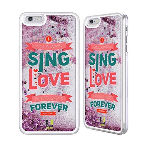 Head Case Designs Unmöglich Bekannten Versen Aus Der Bibel Pink Handyhülle mit flussigem Glitter für Apple iPhone 6 / 6s Singen