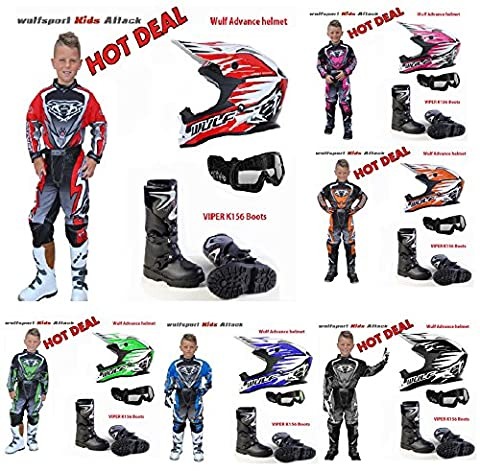 Super Deal For Kids Motorbike Motorcycle Kids Motocross MX Quad Wulf Attack Suits, Wulf Advance Helmets for Children, X1k Kids Goggles, Viper K156 Boots (XL, 11-13 YRS PINK, Boots Size: