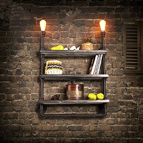 Colore arrugginito retrò in ferro battuto legno materiale industriale parete luci Vintage Wall Light Lampada (2 Ferro Loft)