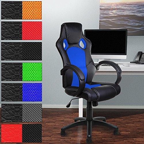 Bürostuhl Komfort Blau PU Leder Chefsessel - Schreibtischstuhl Sportsitz Drehstuhl Gamingstuhl Stuhl Schalensitz Bürodrehstuhl PU Race Design - Farbauswahl
