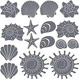 GRAZDesign Bad Deko Muscheln - Badezimmer Tattoos Seesterne - Wandtattoo Badezimmer maritim 16 Teile Set - Wandtattoo viele Größen / 57x57cm / grau / 300167_57x57_WT071