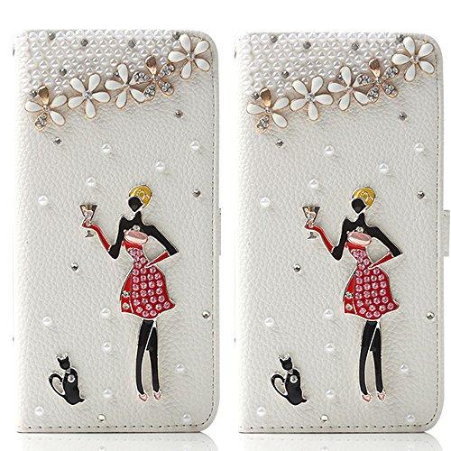 TechCode® Samsung Galaxy S7 Kristall Multi-Stil Flip Case PU Leder Brieftasche Schutzhülle Strap Portable Handytasche Anti-Scratch Shell Cash Pouch ID Card Slot Magnetverschluss (S7, A06)