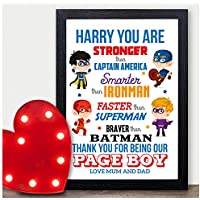 PERSONALISED Superhero Page Boy Best Man Usher Gift - Super Hero Page Boy Thankyou Gifts - Thank You Presents for Page Boy Wedding Party Favours - A5, A4, A3 Prints and Frames - 18mm Wooden Blocks - FREE Personalisation