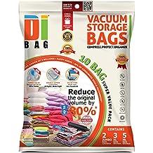 DIBAG® - 10 Piezas Set - Bolsas ahorradoras de espacio para ropa, edredones, mantas y almohadas. 2 X-JUMBO (130*90 cm) + 3 XL (90*70 cm) + 5 ML(65*50 cm) 2 ML (60*50 cm)+ 1 bolsas de viaje sin aspiración (34*50 cm).