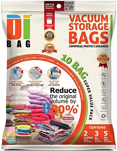 DIBAG - Vakuumbeutel - Vakuum Aufbewahrungsbeutel - 10 Vakuum Kleiderbeutel - Beutelgröße: Jumbo XL & Med - Kompressionsbeutel zur Aufbewahrung von Kleidung , Bettdecken , Reise , Bettwäsche , Kissen