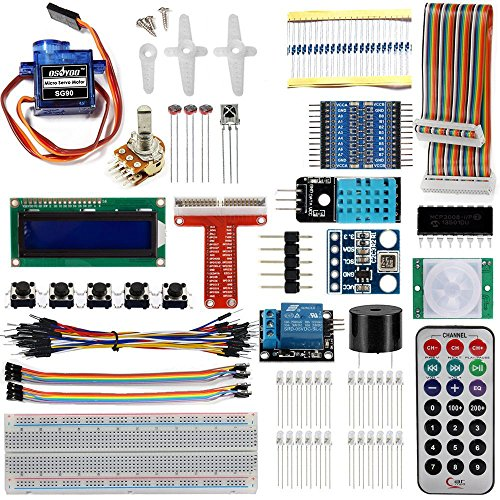 OSOYOO Ultimate Starter Learning Kit for Raspberry pi 3 Starter Kits with GPIO T Cobbler Display Servo Motor Sensor Kit (Push-button Light)