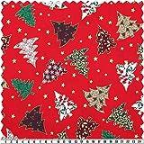 Weihnachts-Baumwoll-Druck, Tannenbaum, mehrfarbig, 140 cm