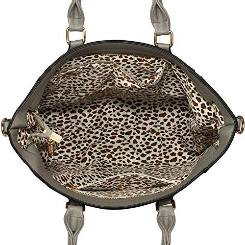LeahWard® Tragetaschen Zum Damen mode Qualität Herrlich Kunstleder Berühmtheit Stil Vorhängeschloss Tasche Damen Schnell verkaufend Handtasche CWS0031A CWS0031L L-Grau (33x14.5x30cm)