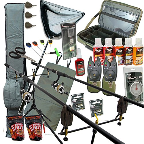 Full-Deluxe-Carp-fishing-Set-Up-Complete-With-Rods-Reels-Alarms-Net-And-Tackle