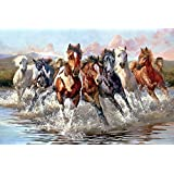 ART DIOR | 8 Running Horses | Canvas Wall Art | Unframed Canvas Print Only | 24 Inch X 18 Inch | Alternate Size Also Available |