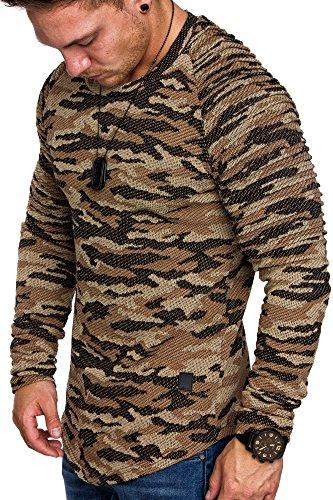 Amaci&Sons Camouflage Oversize Vintage Herren Biker Pullover Hoodie Sweatshirt Crew-Neck 6022 Camouflage Beige M