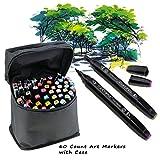 Southsun qualitativ hochwertige Malstifte / Marker / Pinsel mit feinen und breiten Spitzen für Malen und Zeichnen, 60Stück, mit Tragetasche